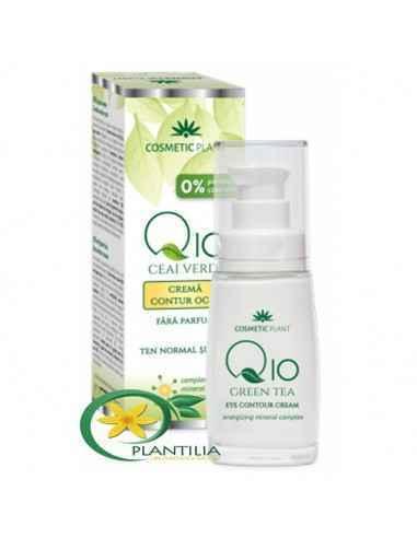 Cremă contur ochi Q10 si ceai verde și complex mineral energizant 30 ml Cosmetic Plant  Crema contur ochi Q10 și ceai verde î