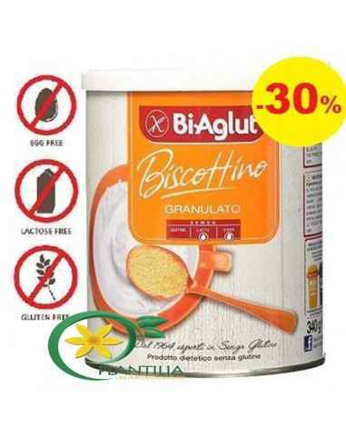 Biscuiti Granulati Biaglut 340g Biscutiti intregi dietetici, fara gluten, lactoza, oua si proteina animala.