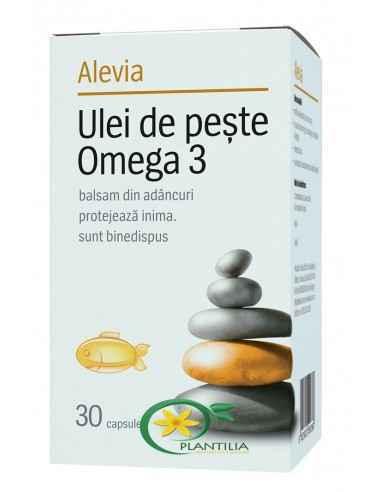 Ulei Peste 30cps Alevia, Ulei Peste Omega 3 30cps Alevia DHA contribuie la funcţionarea normală a creierului și la menţinerea u