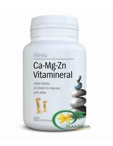 Calciu Magneziu Zinc Vitamineral 60 cpr Alevia, Calciu Magneziu Zinc (Ca-Mg-Zn) Vitamineral 60 comprimate Alevia Asigură un apor