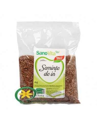 Seminte de in 300g Sanovita Reprezintă o sursă vegetală foarte importantă de acizi graşi Omega-3, importanți în combaterea infla