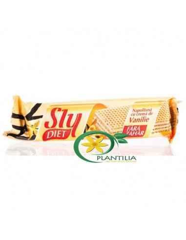 Napolitana Fara Zahar Vanilie 20g SlyCu aromă naturală, napolitanele cu cremă de vanilie sunt ideale pentru o gustare fină cu d