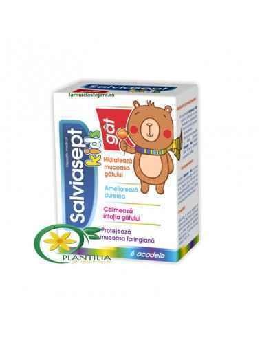 Acadea Salviasept Kids Gat Zdrovit Salviasept Kids (6 acadele) este un remediu natural recomandat copiilor ce acuza durer