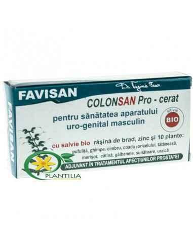 Colonsan Pro Masculin 10 supozitoare Bio Favisan Cu salvie bio, răşină de brad, zinc şi 10 plante: pufuliţă, ghimpe, cimbru, coa