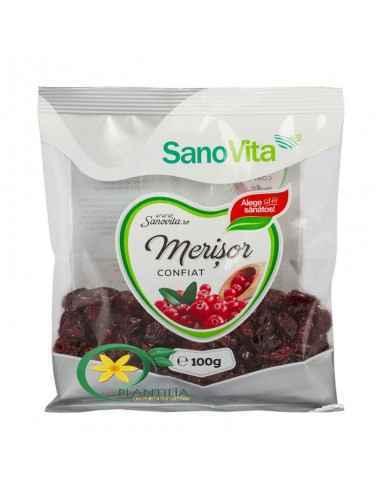 Merisor Confiat 100g Sanovita Merisoarele sunt fructe cunoscute pentru proprietățile sale antiseptice si bogatia de antioxidanti
