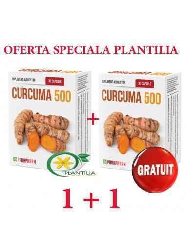 Curcuma 500mg 1+1 GRATUIT Parapharm Suplimentul alimentar conține extract din rădăcină de curcuma cu un conținut de 90% de curcu