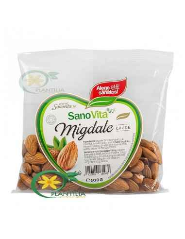 Migdale crude decojite 100g Sanovita Migdalele crude constituie o gustare hrănitoare și o sursă excelentă de fibre și proteine d