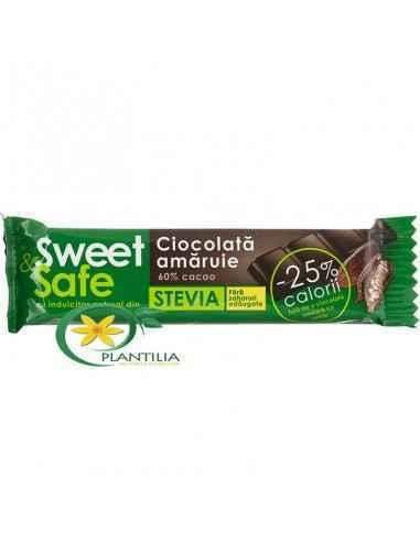 Ciocolata amaruie fara zahar 25g Sweet&Safe Ciocolata amaruie cu 60% cacao si indulcitor natural din stevia, fara zaharuri a