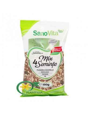 Mix 4 Seminte 150g sanoVita,  Mix 4 Seminte 150g sanoVita Amestecul de semințe de in, susan, floarea soarelui și dovleac asigură