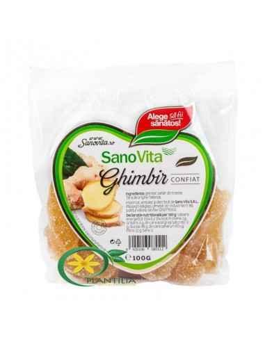 Ghimbir Confiat 100g Sanovita Ghimbirul este un rizom, bogat în substanțe cu rol antiseptic natural.