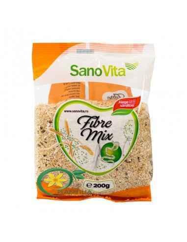 Fibre Mix 200g SanoVita,  Fibre Mix 200g SanoVita Amestecul natural de tărâțe de ovăz, semințe de in și tărâțe de psyllium oferă