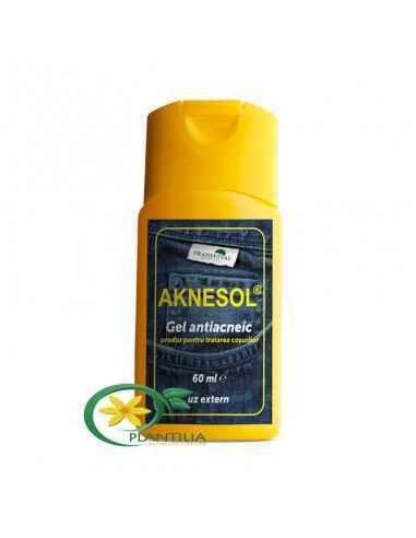 Aknesol Gel Antiacneic 60 ml Are un efect de reglare calitativă și cantitativă a secreției de sebum a pielii.