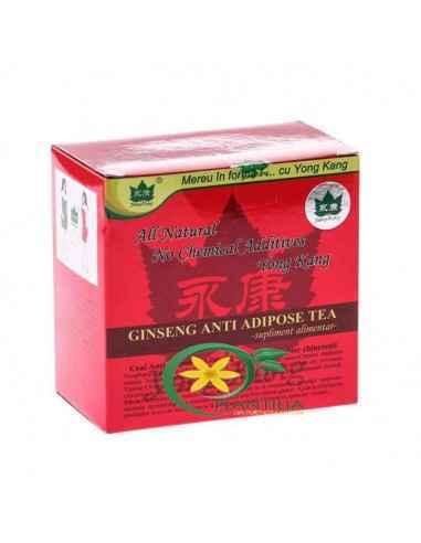 Ceai Antiadipos cu Ginseng 30 plicuri Yong Kang Ceai antiadipos rosu cu ginseng 30 plicuri YONG KANG este un adjuvant in metabo
