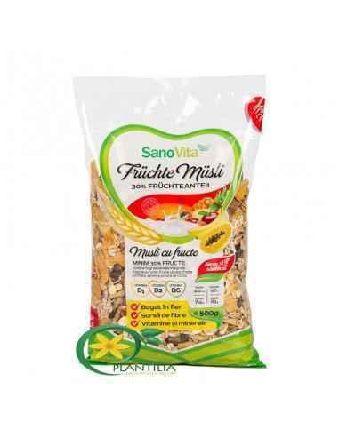 Musli cu Fructe 500g SanoVita  Este excelent pentru un mic dejun complet, bogat în fibre alimentare și nutienți cu proprietăți