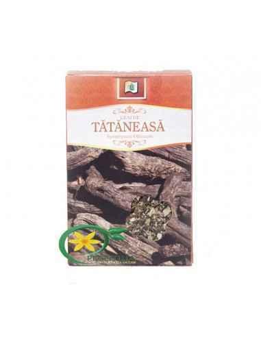 Ceai Tataneasa 50g StefMar  Ceaiul de tataneasa este folosit intern in bronsite, afectiuni ale aparatului digestiv, hemoragii s