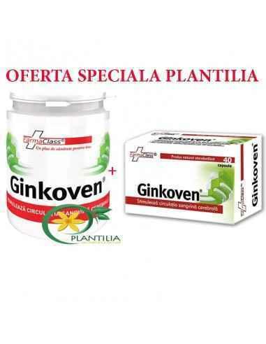 Ginkoven 120 cps + Ginkoven 40 cps la jumatate de pret FarmaClass Ginkoven este recomandat in cazul tulburarilor circulatorii at