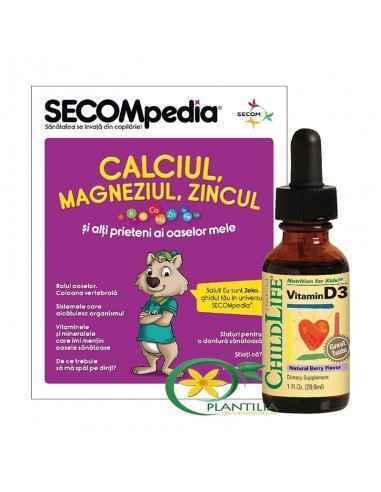 Vitamina D3 Copii Secom, Vitamina D3 500UI pentru copii, picaturi, gust de fructe Ajuta la functionarea normala a sistemului imu