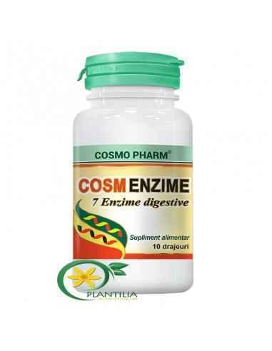 CosmEnzime 10 drajeuri CosmoPharm Cosm Enzime este obtinut dintr-un amestec de 7 enzime digestive ce contribuie sinergic la o di
