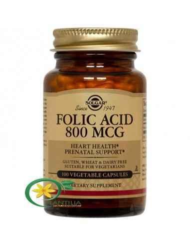Acid Folic 800mcg 100 tablete Solgar Folatul, acidul folic sau metilfolatul, lucrează împreună cu vitamina B12 și vitamina C pen