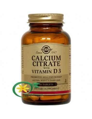 Calcium Citrate 250mg Cu D3 60tb (Citrat de Calciu cu Vit. D3) Solgar  Calciu sub formă de citrat ce asigură cea mai avansată ab