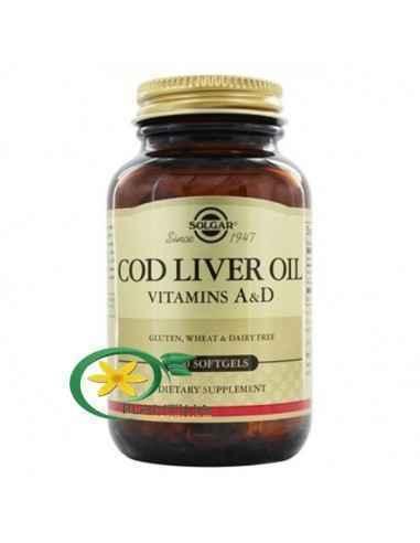 Cod Liver Oil (Ulei din ficat de cod) 100 capsule Solgar O sursă excelentă de ulei din ficat de cod, îmbogățită cu vitaminele A