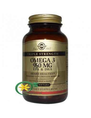Omega 3 Triple Strength (Putere Tripla) 50 cps Solgar Omega-3 de la Solgar este o metodă unică de procesare ce permite acizilor
