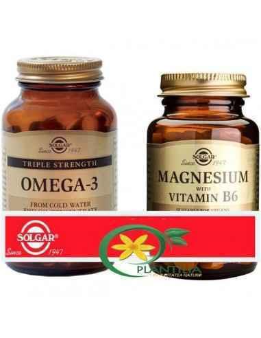 Omega 3 Putere Tripla 50 cps + Magneziu cu B6 100 tablete Solgar, Omega 3 Putere Tripla 50 cps + Magneziu cu B6 100 tablete Solg