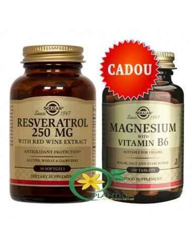 Resveratrol 30 cps + Magneziu cu B6 100 tablete GRATUIT Solgar Resveratrol este un polifenol natural întâlnit în vinul roșu, alu