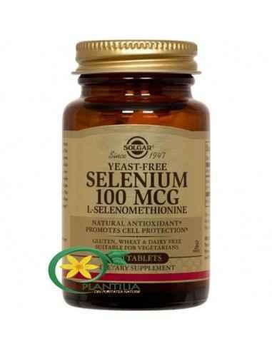 Selenium (Seleniu) 100mcg 100 tb Solgar Seleniul este un oligoelement esențial ce acționează în mod sinergic cu vitamina E.