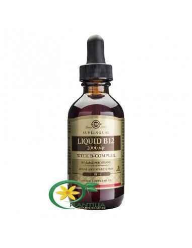 Vitamina B12 Lichid cu B Complex 59 ml Solgar, Vitamina B12 2000ug Cu B-Complex 59ml Solgar Vitamina B12 sub formă lichidă, cu u