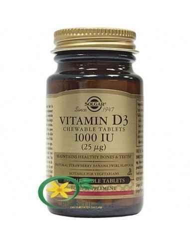 Vitamina D3 1000iu 100tb Masticabile Solgar Forma activă a vitaminei D3 are un rol în activarea a unui număr mare de procese bio