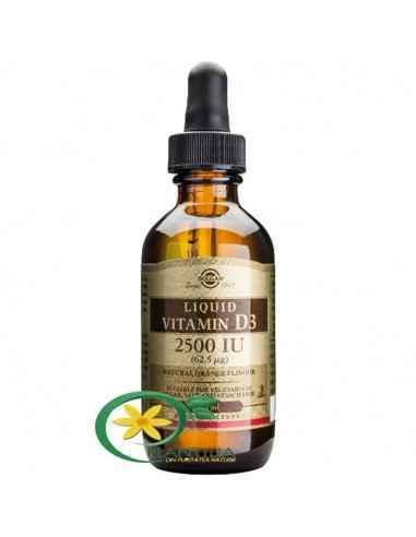 Vitamina D3 2500ui lichida 59 ml Solgar Forma activă a vitaminei D3 are un rol în activarea a unui număr mare de procese biologi