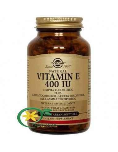 Vitamina E din surse naturale 268 mg (400 UI) 50cps Solgar Vitamina E joacă un rol esențial în respirația celulară a tuturor muș