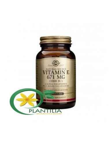 Vitamina E 1000iu 50 cps Solgar, Vitamina E din surse naturale 671 mg (1000 UI) 50cps Solgar Vitamina E joacă un rol esențial î