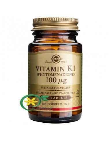 Vitamina K1 100mcg 100tb Solgar Vitamina K este importantă pentru coagularea corespunzătoare a sângelui la oameni. Este esențial