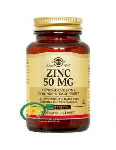 Zinc Gluconate (Gluconat de Zinc) 50mg 100tb Solgar Zincul este un oligoelement esențial, important pentru sistemul imunitar, fă