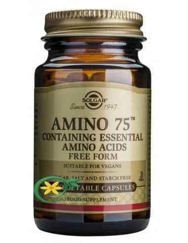 Amino 75 30 cps Solgar, Amino 75 30 cps Solgar Amino 75 conține aminoacizi esențiali utili atleților, vegetarienilor și persoane