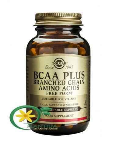 BCAA Plus 50cps Solgar  BCAA Plus asigură cei trei aminoacizi esențiali cu molecule ramificate: L-leucina, L-izoleucina și L-val