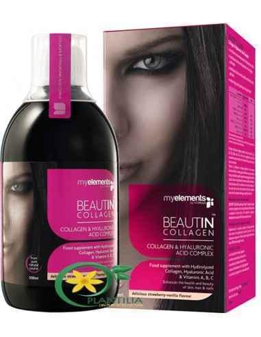 Beautin Colagen Lichid + Mg 500ml MyElements,  Beautin Colagen Lichid CuCapsuni si Vanilie + Magneziu 500ml MyElements  Beautin