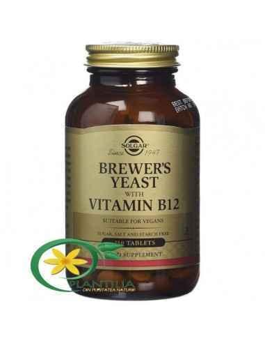 Drojdie de Bere cu Vitamina B12 250 tb Solgar, Brewer's Yeast (Drojdie de bere) cu Vit. B12 500mg 250tb Solgar  Drojdia reprezin