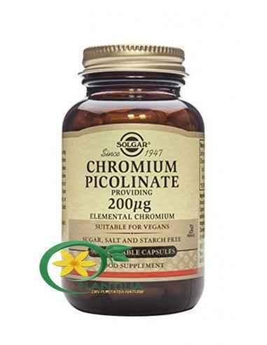 Chromium Picolinate 200mg 90tb (Picolinat de Crom) Solgar Cromul servește la potențarea eficienței insulinei, hormonul responsab