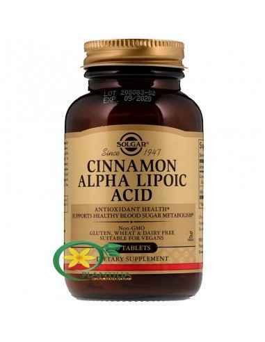 Cinnamon Alpha Lipoic (Scortisoara si Acid Alfa Lipoic) 60 tb Solgar  S-a constatat faptul că scorțișoara și acidul alfa lipoi