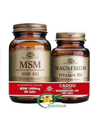 MSM 60 tb + Magneziu cu B6 100 tb GRATUIT  Solgar,  MSM (Metilsulfonilmetan) 1000mg 60 tb Solgar  MSM este o formă de sulf organ