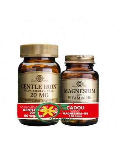Fier 20 mg 90 cps + Magneziu cu B6 100 tb Solgar  Forma de bisglicinat a fierului este ușor absorbită, are o biodisponibilitate
