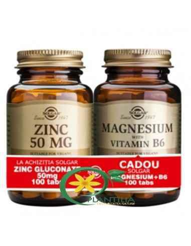 Gluconat de Zinc + Magneziu cu B6  Solgar, Zinc Gluconate (Gluconat de Zinc) 50mg 100tb + Magneziu cu B6 100 tablete Solgar  Zi