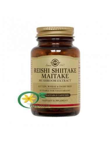 Reishi Shiitake Maitake Extract 50 cps Solgar  Combinație puternică de extracte din ciuperci: reishi, shiitake, maitake.