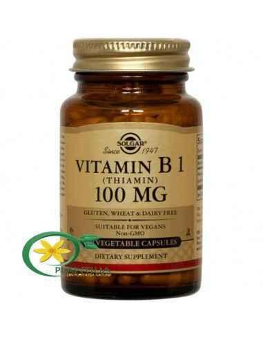 Vitamina B1 (Tiamina) 100 mg 100 cps Solgar  Vitamina B1 – tiamină – acționează ca o coenzimă, necesară pentru conversia carbohi