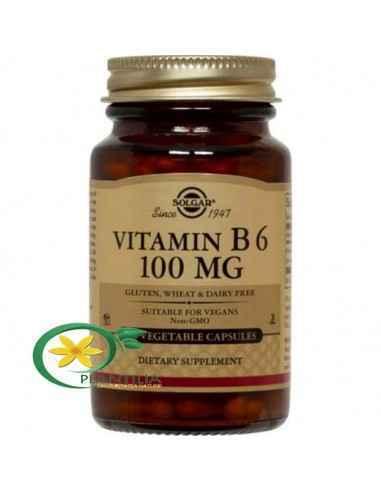Vitamina B6 (Piridoxina) 100 mg 100 cps Solgar  Vitamina B6 – Piridoxina – joacă un rol de coenzimă în descompunerea și utiliza