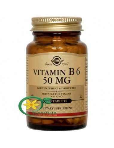 Vitamina B6 (Piridoxina) 50 mg 100 tb Solgar  Vitamina B6 – Piridoxina – joacă un rol de coenzimă în descompunerea și utilizare