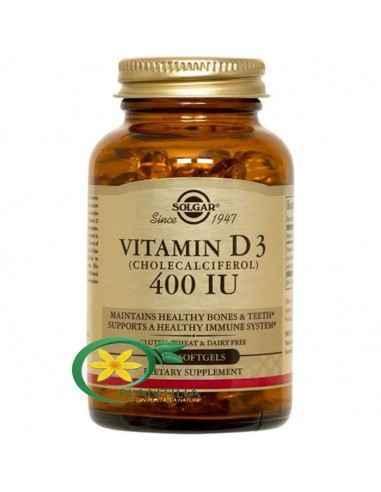 Vitamina D3 400ui 100 cps Solgar Forma activă a vitaminei D3 are un rol în activarea a unui număr mare de procese biologice impo